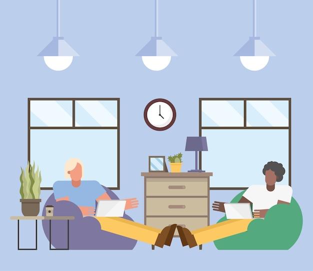 Uomini con laptop lavorando su puf da casa design del tema del telelavoro illustrazione vettoriale Vettore Premium
