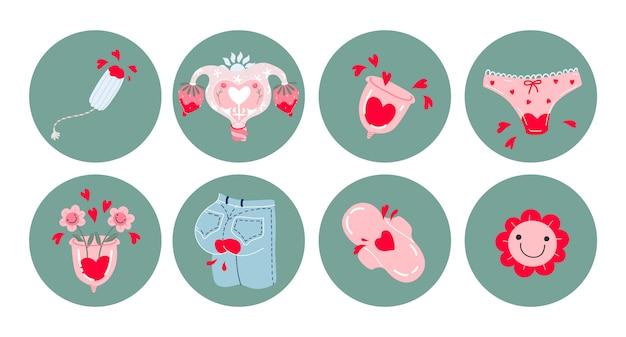 Set di icone del periodo mestruale. insieme di immagini disegnate a mano: coppette mestruali, jeans sanguinanti, tampone, cuscinetti, mutandine, fiori sorridenti, cuori. prodotti per l'igiene femminile. adesivi per oggetti. Vettore Premium