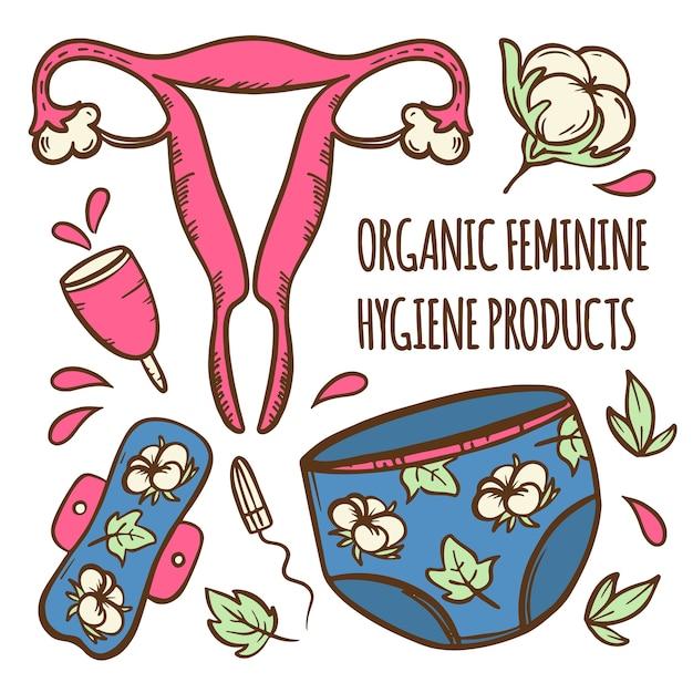 Mestruazioni set organico femminile ginecologico sanitario zero rifiuti donne igiene illustrazione disegnata a mano clip art per la stampa Vettore Premium