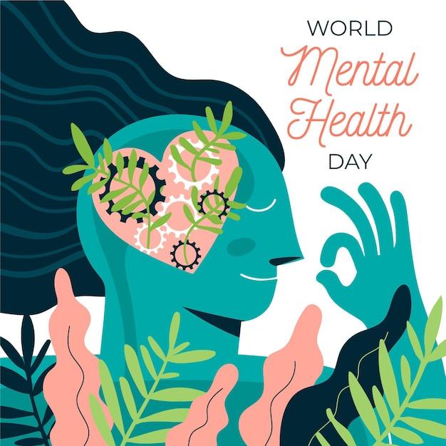 Design piatto evento della giornata di salute mentale Vettore Premium