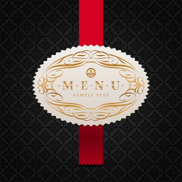 Modello di copertina del menu - etichetta con cornice ornamentale e nastro rosso su uno sfondo nero Vettore Premium