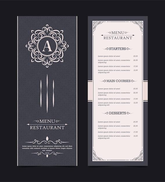 Layout del menu con elementi ornamentali Vettore Premium