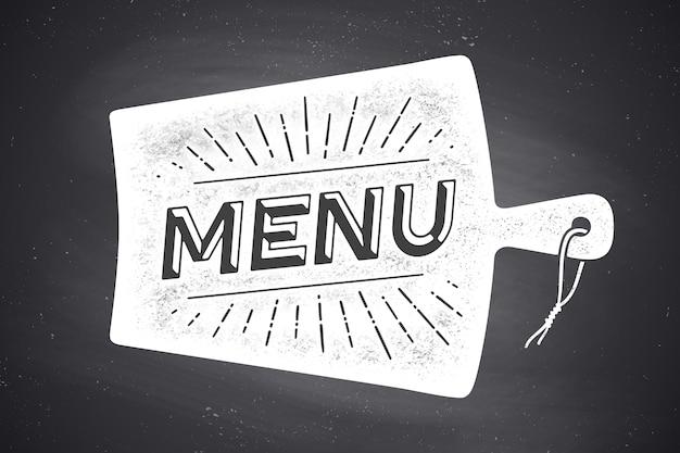 Menu, scritte. decorazione murale, poster, segno. poster per il design della cucina Vettore Premium