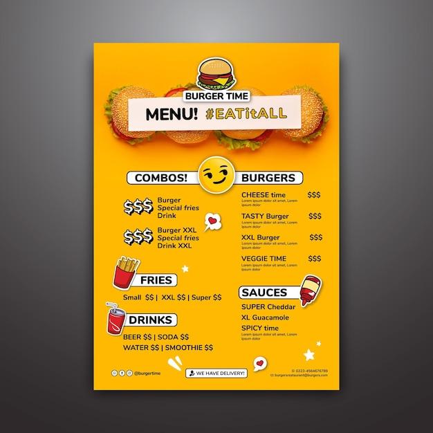 Modello di menu per ristorante di hamburger Vettore Premium