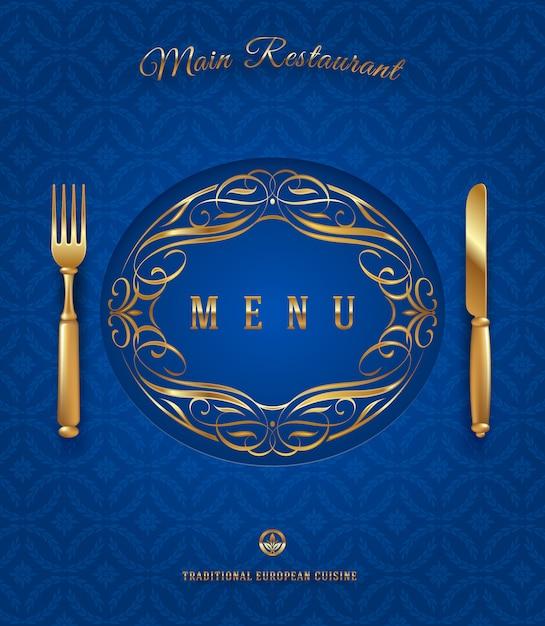 Modello del menu con la coltelleria dorata e la decorazione decorata - illustrazione Vettore Premium