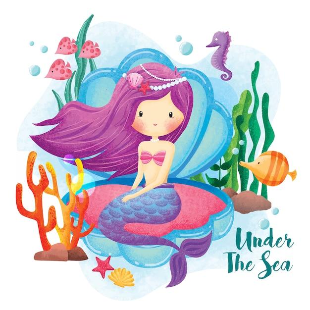Illustrazione della principessa sotto il mare della sirena Vettore Premium