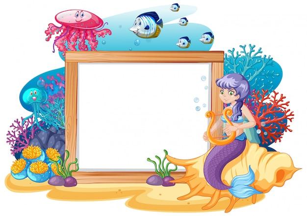 Tema di sirena e animali marini con stile cartoon banner bianco su sfondo bianco Vettore Premium