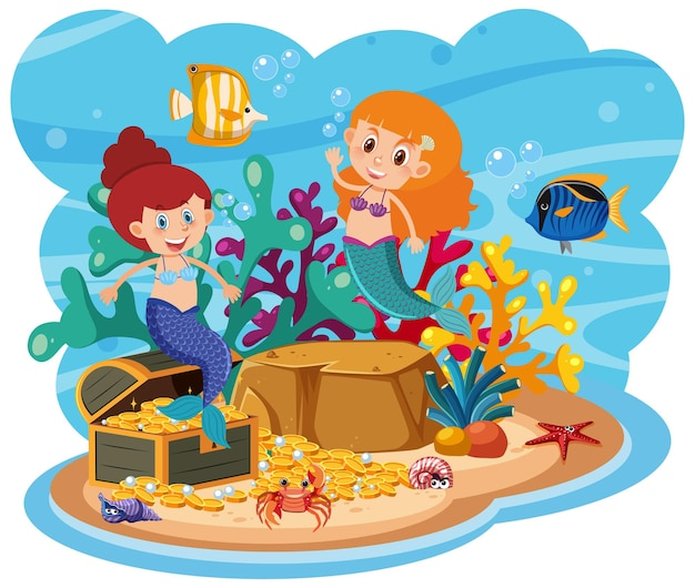 Sirena nel mondo sottomarino Vettore Premium
