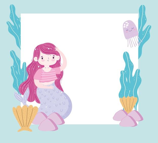 Sirena con capelli rossi e animali marini e con illustrazione di banner in bianco Vettore Premium