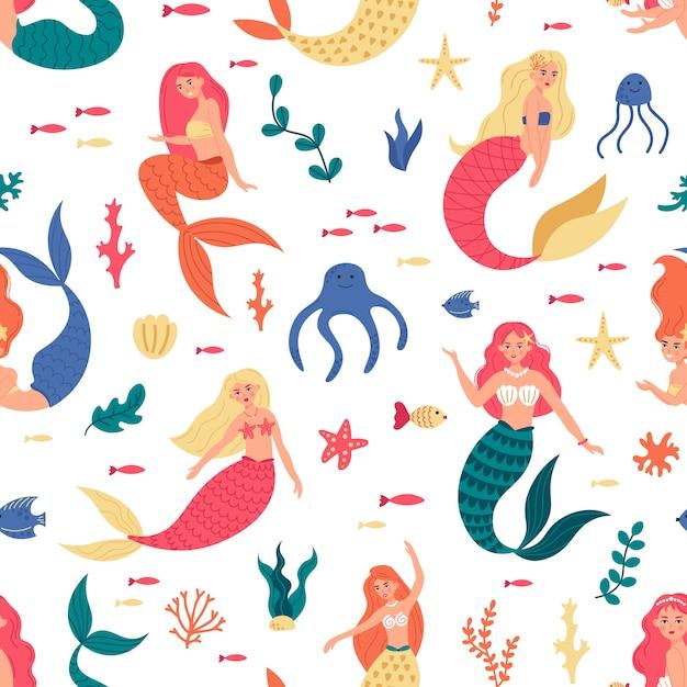 Sirene modello marino. sirene carine senza soluzione di continuità, personaggi delle sirene dei cartoni animati di fiaba subacquea, sfondo ragazze sirena sottomarina. modello senza cuciture con personaggi sirena colorata Vettore Premium