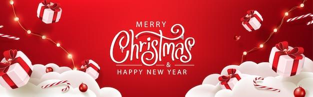 Modello di banner di buon natale con decorazioni festive per natale Vettore Premium