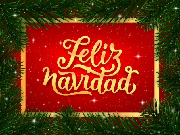 Buon Natale In Spagnolo.Testo Di Calligrafia Di Buon Natale In Spagnolo Vettore Premium