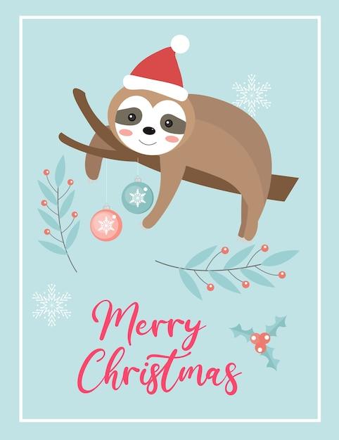 Carta sveglia di buon natale con bradipo in cappello della santa. Vettore Premium