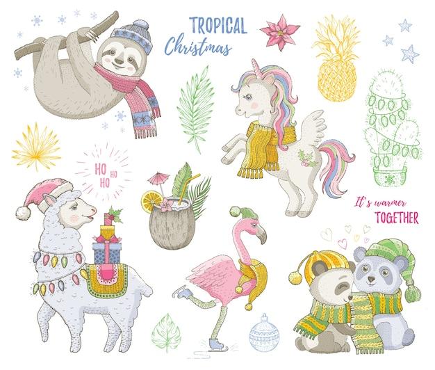 Buon natale simpatici animali tropicali, unicorno, bradipo, maiale, lama, fenicottero. insieme di doodle alla moda disegnato a mano. schizzo natale, felice anno nuovo. Vettore Premium