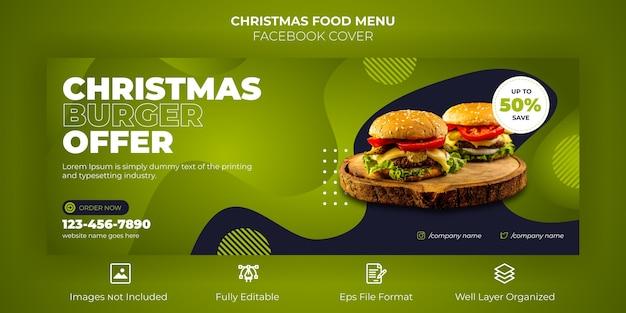 Buon natale menu cibo banner copertina facebook Vettore Premium