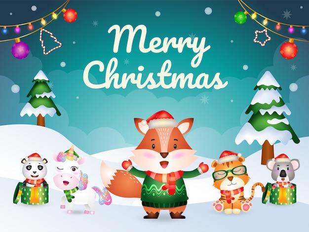 Biglietto di auguri di buon natale con simpatici animali: volpe, tigre, unicorno, koala e panda Vettore Premium