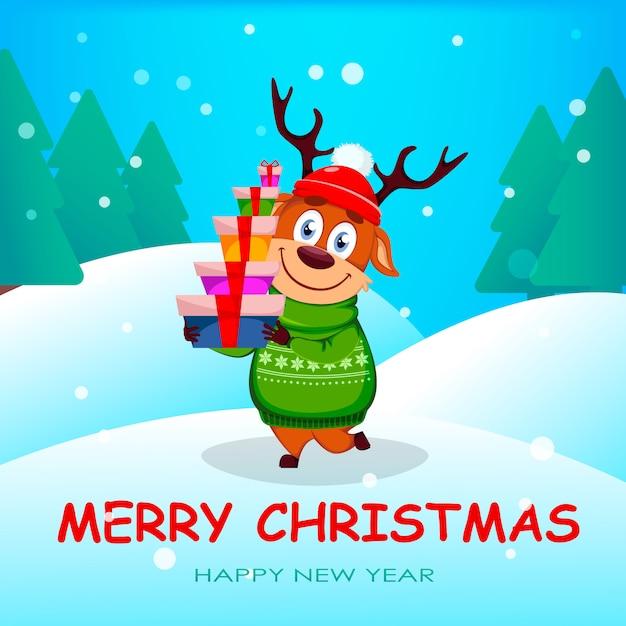Auguri Spiritosi Di Buon Natale.Vettore Premium Auguri Di Buon Natale Con Renne Divertenti
