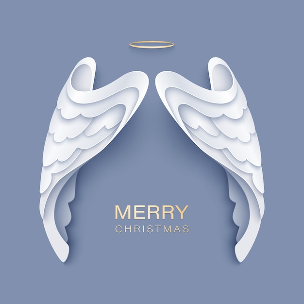 Auguri di buon natale con ali d'angelo bianche e aureola dorata Vettore Premium