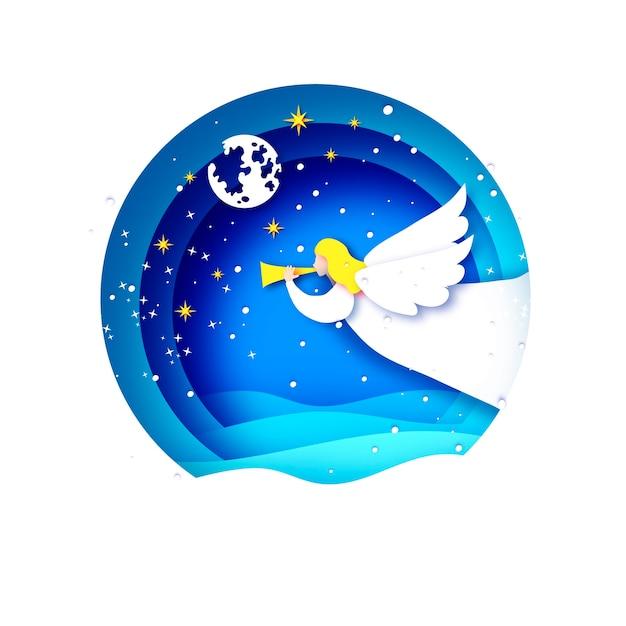Auguri di buon natale con angeli bianchi e bellissimo paesaggio invernale. vacanze invernali. felice anno nuovo. cornice pallina cerchio in stile taglio carta. Vettore Premium