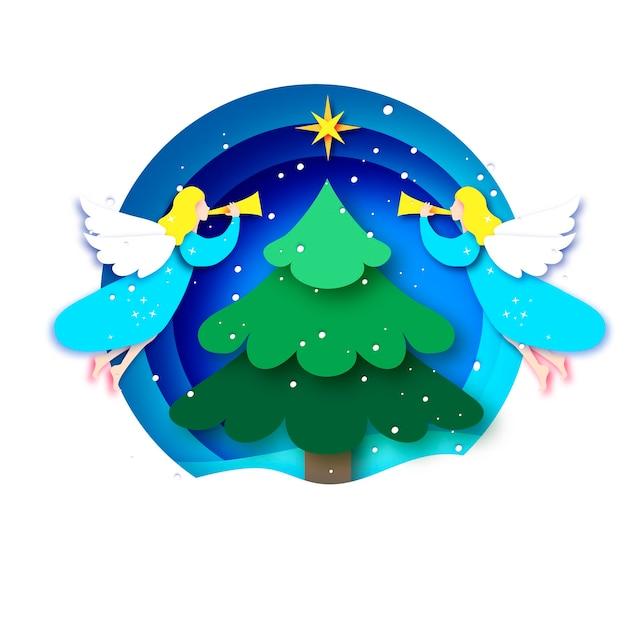 Biglietto di auguri di buon natale con angeli bianchi e albero di natale verde. vacanze invernali. felice anno nuovo. stella di betlemme - cometa orientale. cornice pallina cerchio in stile taglio carta. Vettore Premium