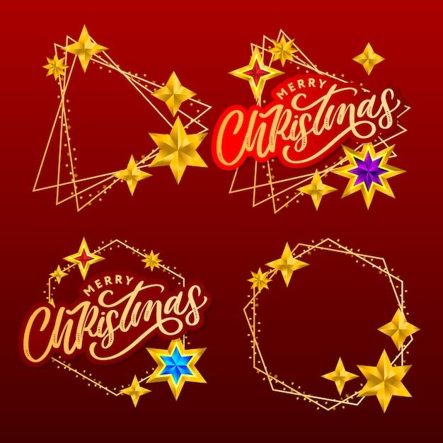 Set di lettere e stelle disegnate a mano di buon natale Vettore Premium
