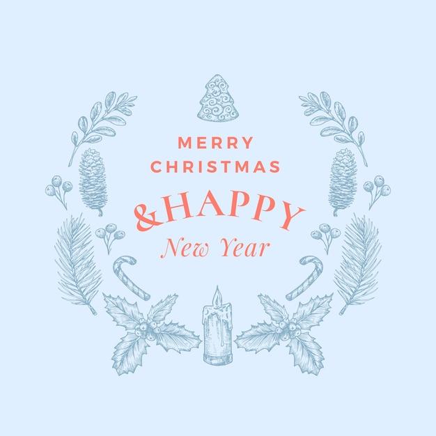 Buon natale e felice anno nuovo biglietto di auguri astratto o banner con ghirlanda di natale e retro tipografia Vettore Premium
