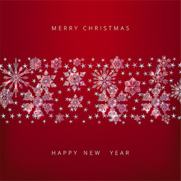 Sfondo di buon natale e felice anno nuovo con fiocchi di neve decorativi Vettore Premium