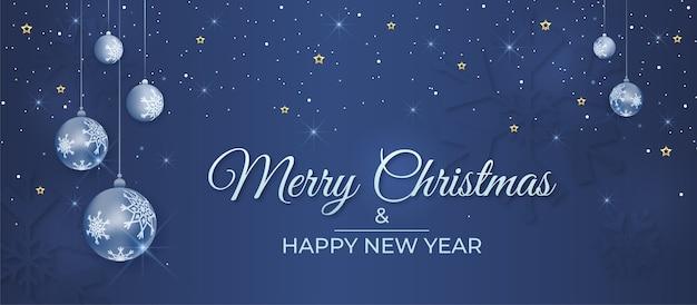 Buon natale e felice anno nuovo banner con palline decorative e neve che cade Vettore Premium