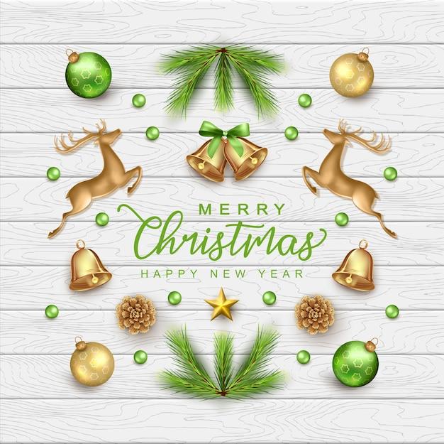 Buon natale e felice anno nuovo card con realistiche decorazioni natalizie Vettore Premium
