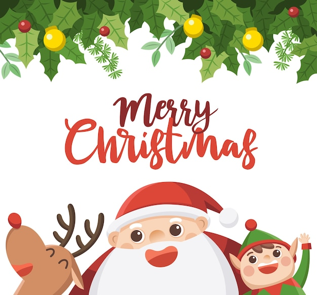 Buon natale e felice anno nuovo biglietto di auguri. babbo natale con elfo e renne. Vettore Premium