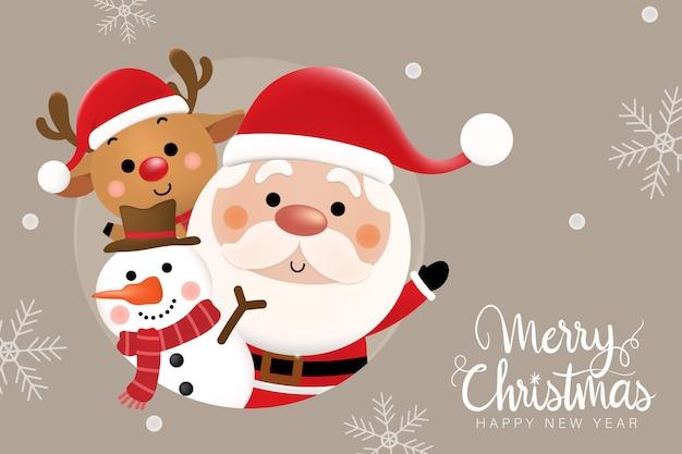 Buon natale e felice anno nuovo biglietto di auguri con simpatico babbo natale, cervi e pupazzo di neve. Vettore Premium