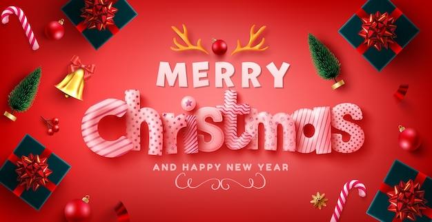 Auguri di buon natale e felice anno nuovo con scatole regalo Vettore Premium
