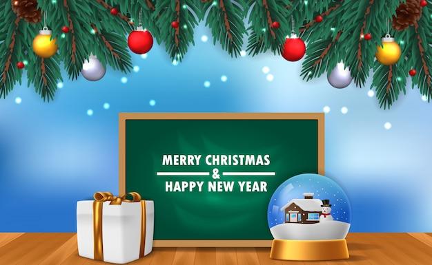 Modello di banner poster di buon natale e felice anno nuovo con illustrazione della decorazione di vetro del globo domestico di neve con scatola presente e lavagna e ghirlanda di foglie di abete con cielo blu e nevicate Vettore Premium