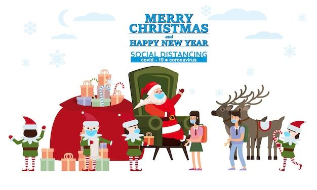 Buon natale e felice anno nuovo babbo natale con i suoi elfi aiutanti e cervi fa regali ai bambini nella sua residenza Vettore Premium