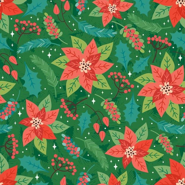 Buon natale e felice anno nuovo seamless pattern. sfondo festivo con elementi floreali natalizi, poinsettia, foglie di agrifoglio, bacche rosse, rami di abete. stile retrò alla moda. modello di disegno vettoriale Vettore Premium