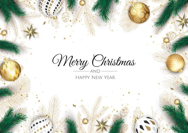 Buon natale e felice anno nuovo. sfondo di natale con poinsettia, fiocchi di neve, stelle e palline. biglietto di auguri, banner per le vacanze, poster web Vettore Premium