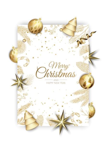 Buon natale e felice anno nuovo. sfondo di natale con brillanti fiocchi di neve d'oro. biglietto di auguri, banner per le vacanze, poster web. Vettore Premium
