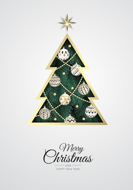 Buon natale e felice anno nuovo. sfondo di natale con albero di natale, fiocchi di neve, stelle e palline. biglietto di auguri, banner per le vacanze, poster web Vettore Premium