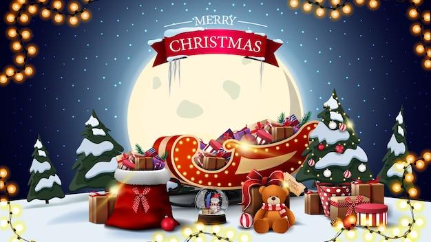 Buon natale, cartolina orizzontale con paesaggio invernale del fumetto, grande luna gialla Vettore Premium
