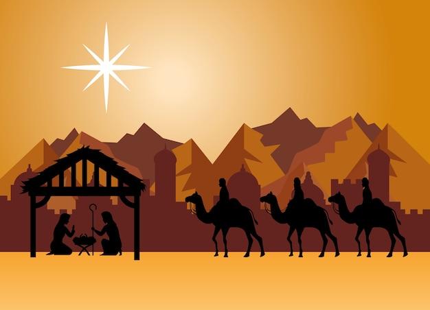 Buon natale natività maria giuseppe bambino e tre saggi al design del deserto, stagione invernale e decorazione Vettore Premium