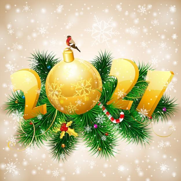 Buon natale e anno nuovo sfondo con rami di abete, pallina, ciuffolotto e stilizzato. modello per copertina, flyer, brochure, biglietto di auguri Vettore Premium