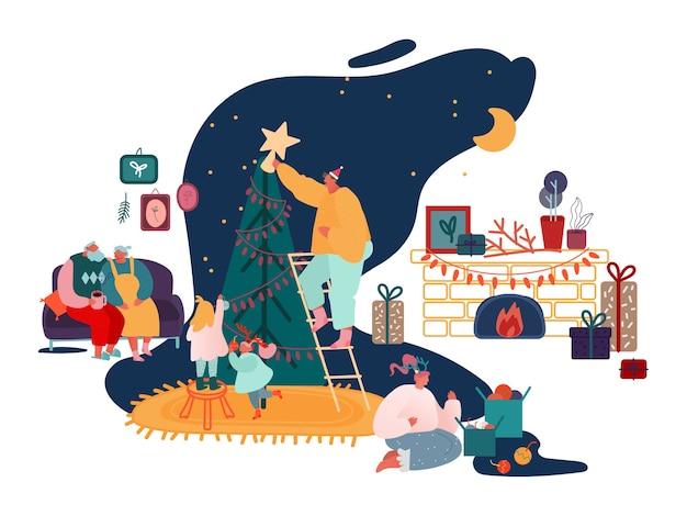 Buon natale e inverno capodanno celebrazione della famiglia set, genitori e figli che decorano l'albero di natale, cantano canti natalizi, confezionano regali alle scene del caminetto. Vettore Premium