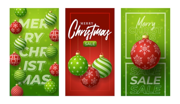Banner verticale di buon natale per storie. rosso e verde set di post di storie sui social media a tema natalizio, modello di cornice di copertura banner palla pallina rossa e verde realistico 3d Vettore Premium