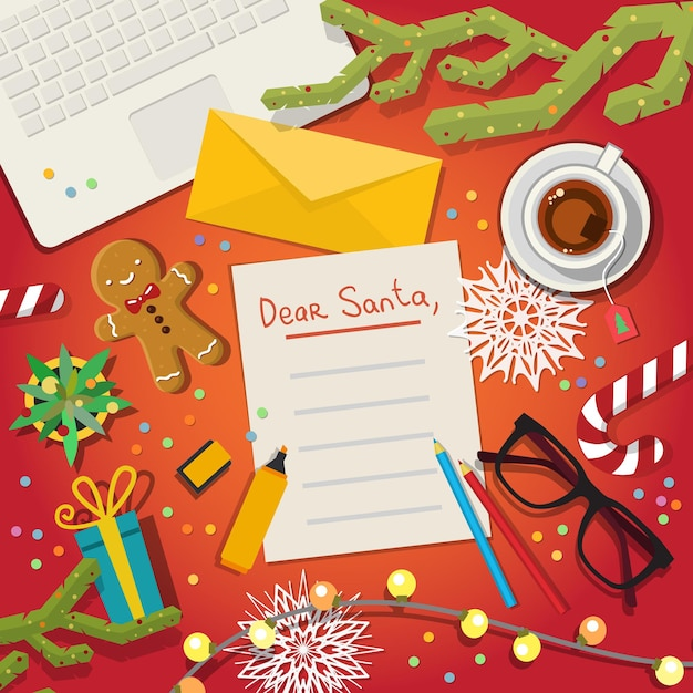 Lista dei desideri di buon natale a babbo natale illustrazione piatta Vettore Premium