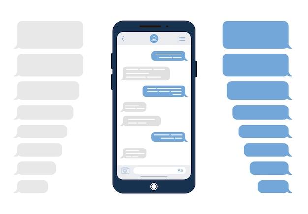 Bolle di messaggio. modello per chat o sito web di messaggistica. illustrazione moderna in stile. Vettore Premium