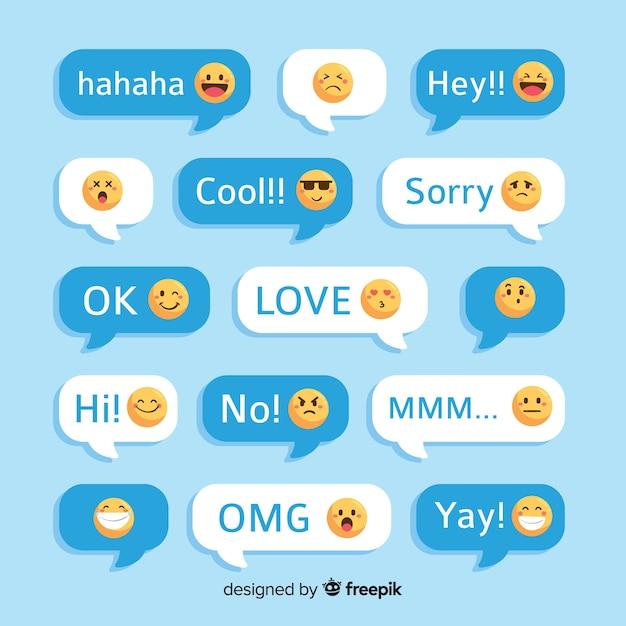 Messaggi con reazioni emoji Vettore Premium