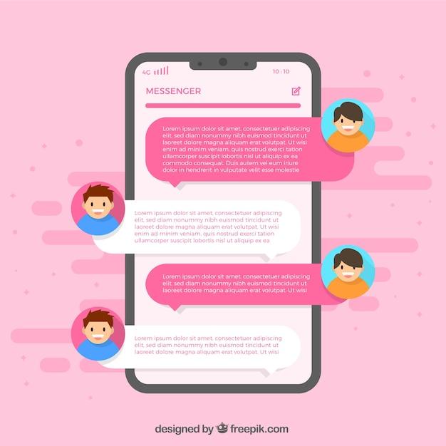 Applicazione messenger per chattare in stile piatto Vettore Premium