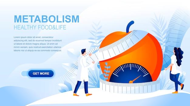 Pagina di destinazione piatta per metabolismo con intestazione, modello di banner. Vettore Premium