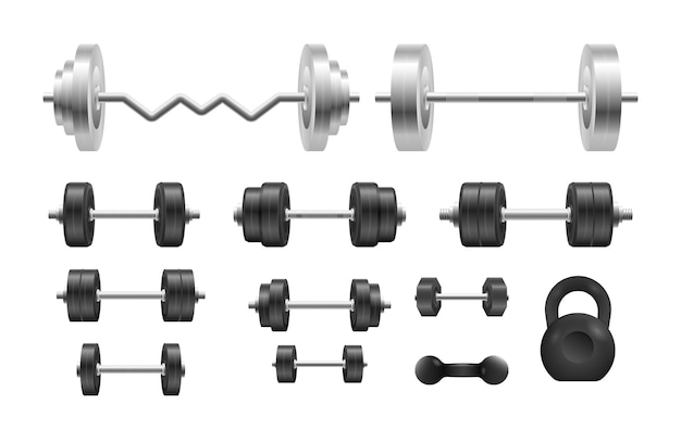 Manubrio nero 3d in metallo. bilanciere, manubrio. bilancieri in acciaio per bodybuilding, fitness. Vettore Premium