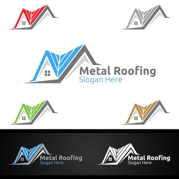 Logo di coperture in metallo per tetto in scandole immobiliare o progettazione di architettura tuttofare Vettore Premium